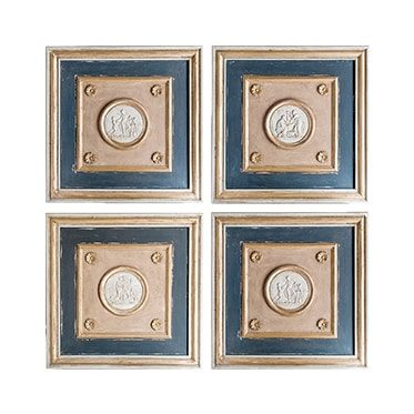 REF : B11 SET OF 4 EMPIRE INTAGLIO PANELINGS YELLOW, BLACK AND GOLD