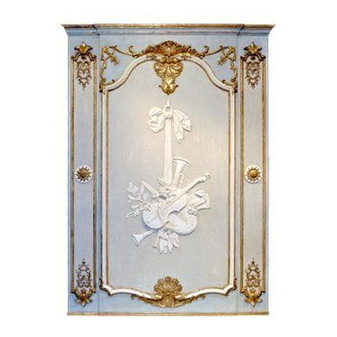 REF : B26 LARGE LOUIS XV VIOLIN BOISERIE BLUE BEIGE AND GOLD
