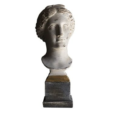 REF : PLA23 BUST OF A ROMAN WOMAN GREY AND GILDED STAND