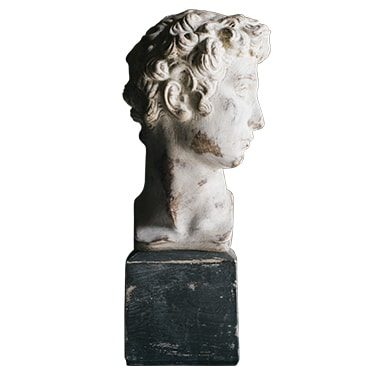 REF : PLA25 SMALL DAVID BUST GREY STAND