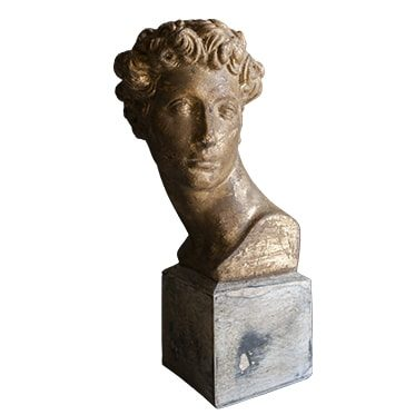 REF : PLA26 SMALL GILDED DAVID BUST WHITE STAND