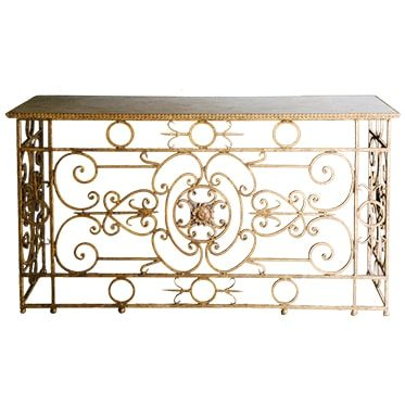 REF : CO10 PLATEAU BOIS PEINT / LOUIS XVI GILDED IRON FORGE CONSOLE WITH PAINTED WOOD TOP (DISMOUNTABLE)