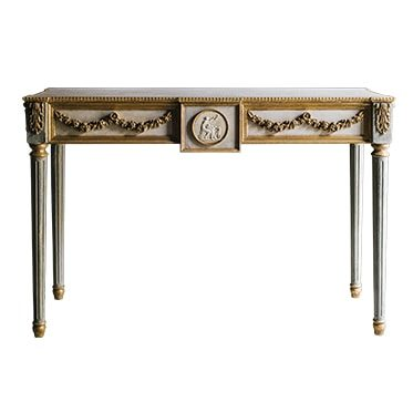 REF : CO14 LOUIS XVI CONSOLE WITH INTAGLIO GREEN, BEIGE AND GOLD