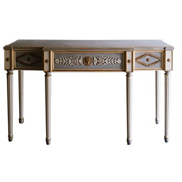 REF : CO18 GREY, BLUE AND GOLD CONSOLE LOUIS XVI 6 LEGS