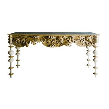 REF : CO19 LARGE BAROQUE CONSOLE WHITE, GOLD AND BLACK