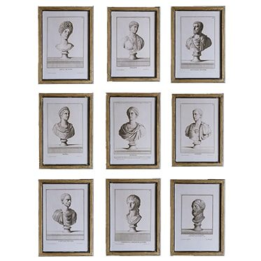 REF : G13, 9 ROMAN BUSTS BLACK AND GOLD FRAME