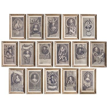 REF : G2 COLLECTION OF 16 FRAMED KINGS AND QUEENS, GILDED FRAME
