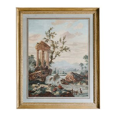 REF : G33 RUINS IN THE COUNTRY SIDE GILDED FRAME