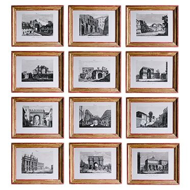 REF : G41, 12 ROME MONUMENTS VIEWS, RED AND GOLD
