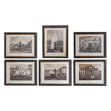 REF : G5 SET OF 6 FOUNTAINS FROM ROMA BLACK AND GOLD FRAME