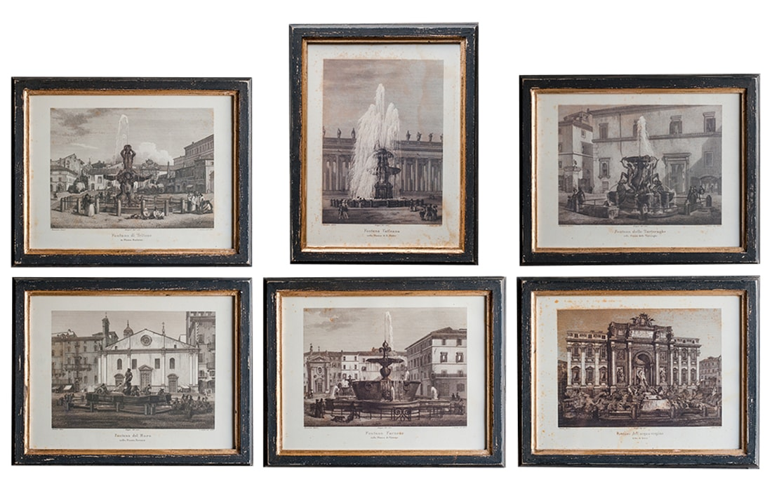 Ref G5 Set Of 6 Fountains From Roma Black And Gold Frame Elusio