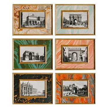 REF : G58, 6 ROMAN MONUMENTS ON MARBLE PAPER