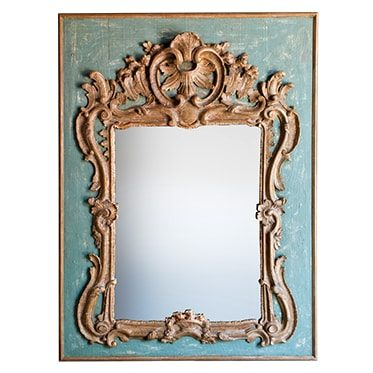 REF : M11 LARGE REGENCY MIRROR GREEN AND GOLD