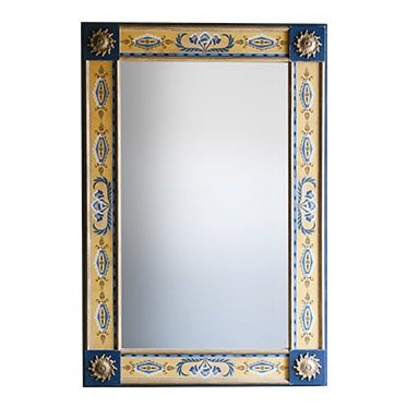 REF : M22 FLOWERED WALLPAPER MIRROR BLUE AND YELLOW