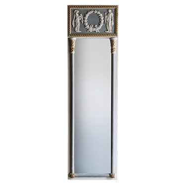 REF : M23 NARROW EMPIRE MIRROR WITH COLUMNS BLUE WHITE