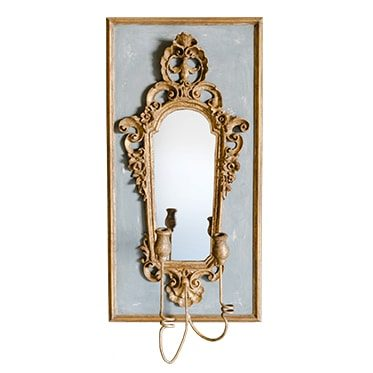 REF : M24 BAROQUE MIRROR SCONCE BLUE GREY AND GOLD
