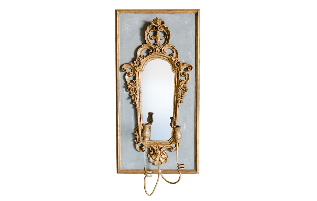 Baroque Gold Mirrors BAROQUE MIRROR SCONCE BLUE GREY AND GOLD