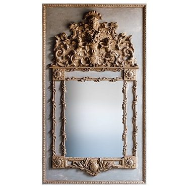 REF : M25 MIRROR LOUIS XIV WITH FOLIAGE GREY AND GOLD