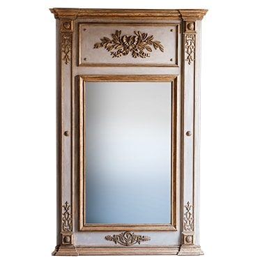 REF : M26 LARGE MIRROR LOUIS XVI WITH RUBAN AND FOLIAGE GREY AND GOLD