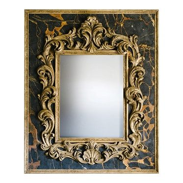 REF : M34 LARGE BAROQUE MIRROR ON BLACK PORTOR