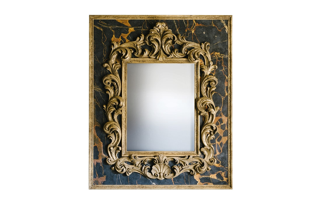 Baroque Gold Mirrors LARGE BAROQUE MIRROR ON BLACK PORTOR