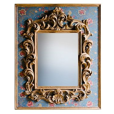 REF : M34 LARGE BAROQUE MIRROR ON BAROQUE FLOWERS PAPER