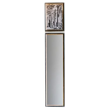 REF : M41 NARROW BLACK AND GOLD MIRROR WITH ANTIQUE COLUMNS