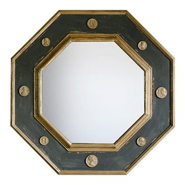 REF : M46 OCTOGONAL MIRROR WITH INTAGLIO, DARK GREY AND GOLD