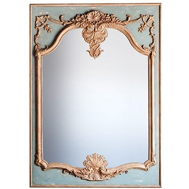REF : M8 LARGE LOUIS XV MIRROR GREEN GREY AND GOLD