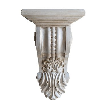 REF : SOC6 ACANTHUS PATINATED WHITE SMALL CONSOLE