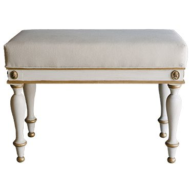REF : TAB2 LARGE EMPIRE STOOL WHITE AND GOLD