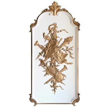 REF : B41  TALL LOUIS XV BOISERIE WITH VIOLIN, WHITE & GOLD