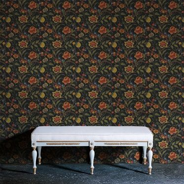 REF : BAROQUE FLOWERS 02 BLACK WALLPAPER