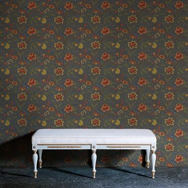 REF : BAROQUE FLOWERS 04 DARK GREY WALLPAPER