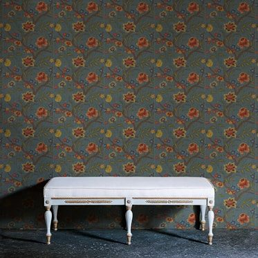 REF : BAROQUE FLOWERS 05 BLUE GREY WALLPAPER