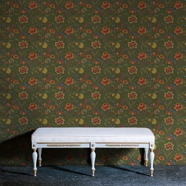 REF : BAROQUE FLOWERS 06 GREEN WALLPAPER
