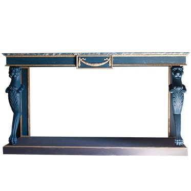 REF : CO25 LARGE EMPIRE CONSOLE WITH LIONS DARK BLUE AND BROWN
