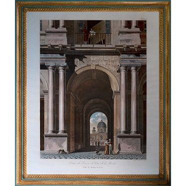 REF : G66 (A) LARGE LOUVRE VIEWS 4 COLUMNS, BLUE & GOLD
