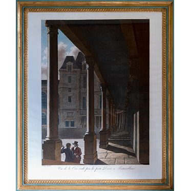 REF : G73 (C) LARGE LOUVRE VIEWS FONTAINEBLEAU, BLUE & GOLD
