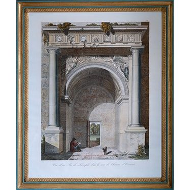 REF : G66 (D) LARGE LOUVRE VIEWS ARC DE TRIOMPHE, BLUE & GOLD