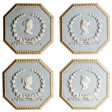 REF : I10  OCTOGONAL INTAGLIO WITH PROFILE BLUE, WHITE AND GOLD (SET OF 4)