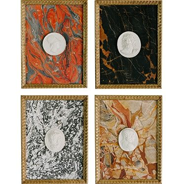 REF : I19 FOUR ROMAN INTAGLIOS ON PAPER (TO CHOOSE), GOLD