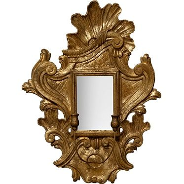 REF : M48 CARVED BAROQUE SCONCE MIRROR, GOLD