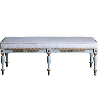 REF : TAB4 BLUE GREY AND GOLD BENCH WITH BEIGE UPHOLSTERY