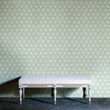 REF : FLEURON 11 TURQUOISE & TAUPE WALLPAPER